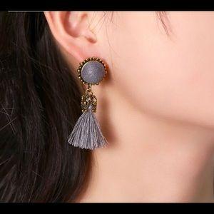 Gray Tassel Earrings